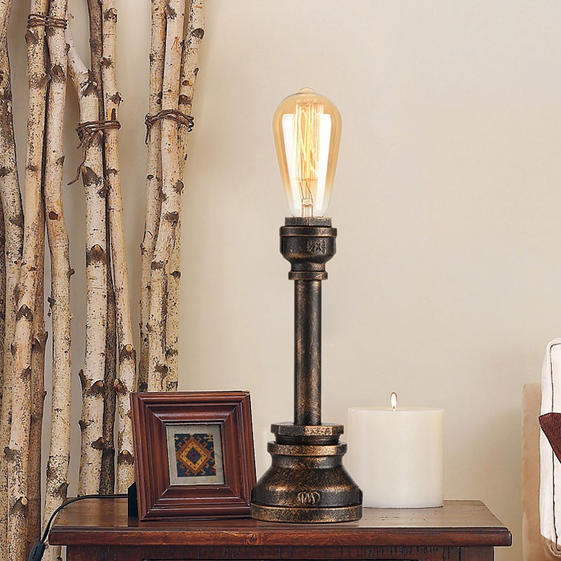 Iron Built Rust Vintage Pipe Table Lamp (DK-6101-T1)