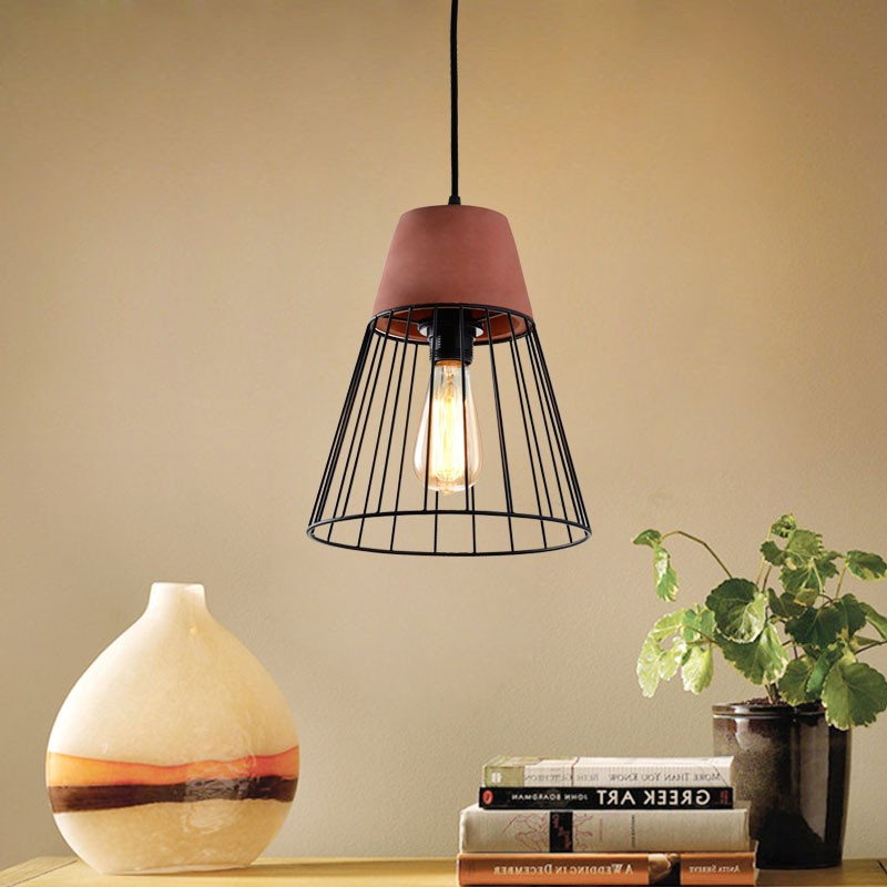 1-Light Iron/Cement Cage Pendant Light (HKP31357A-1)
