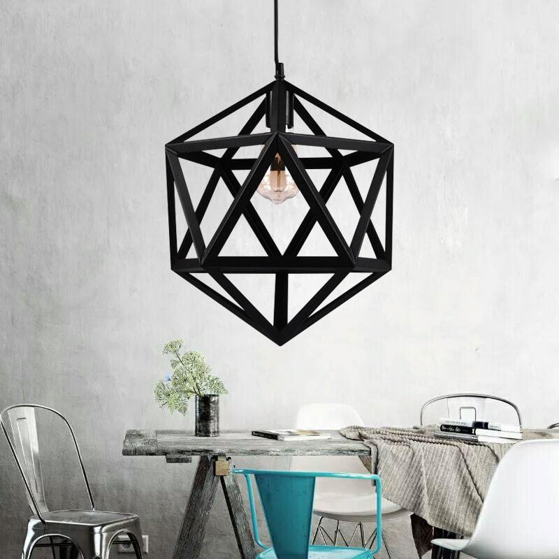 1-Light Cage Pendant Iron Light (1636-1B)