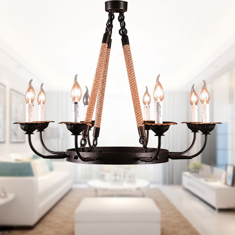 8-Light Rope Iron Chandelier (8135-D8)