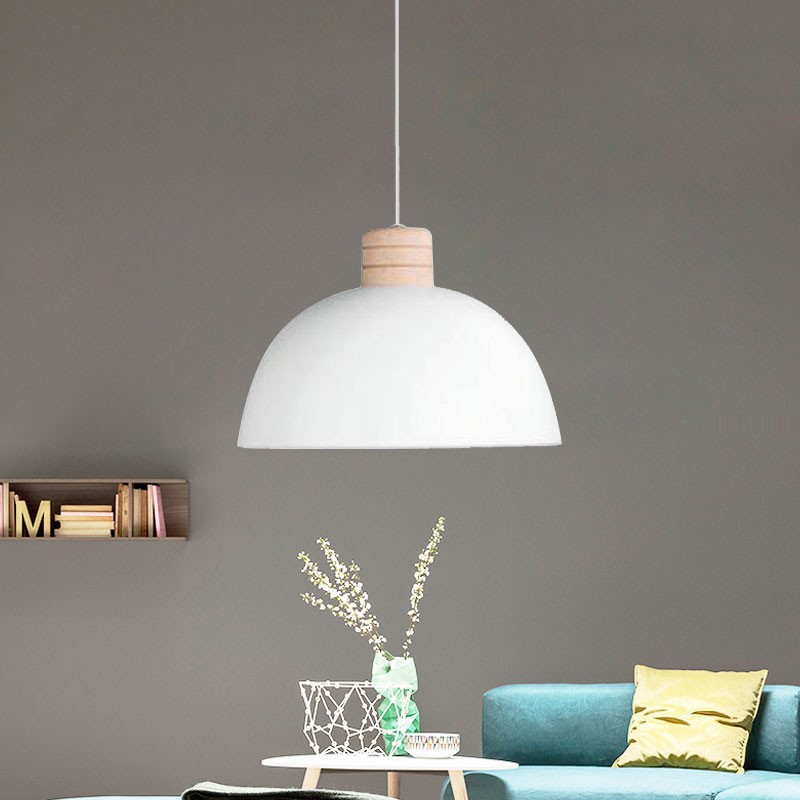 1-Light White Iron Modern Pendant Light (HYMUP1209C-1)