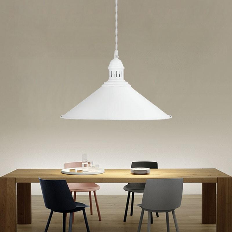1-Light White Iron Modern Pendant Light (HYMUP1207B-1)
