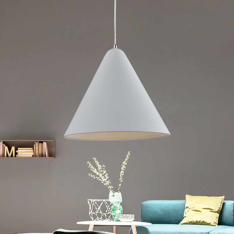 1-Light White Aluminum Modern Pendant Light (HKP31411-1)