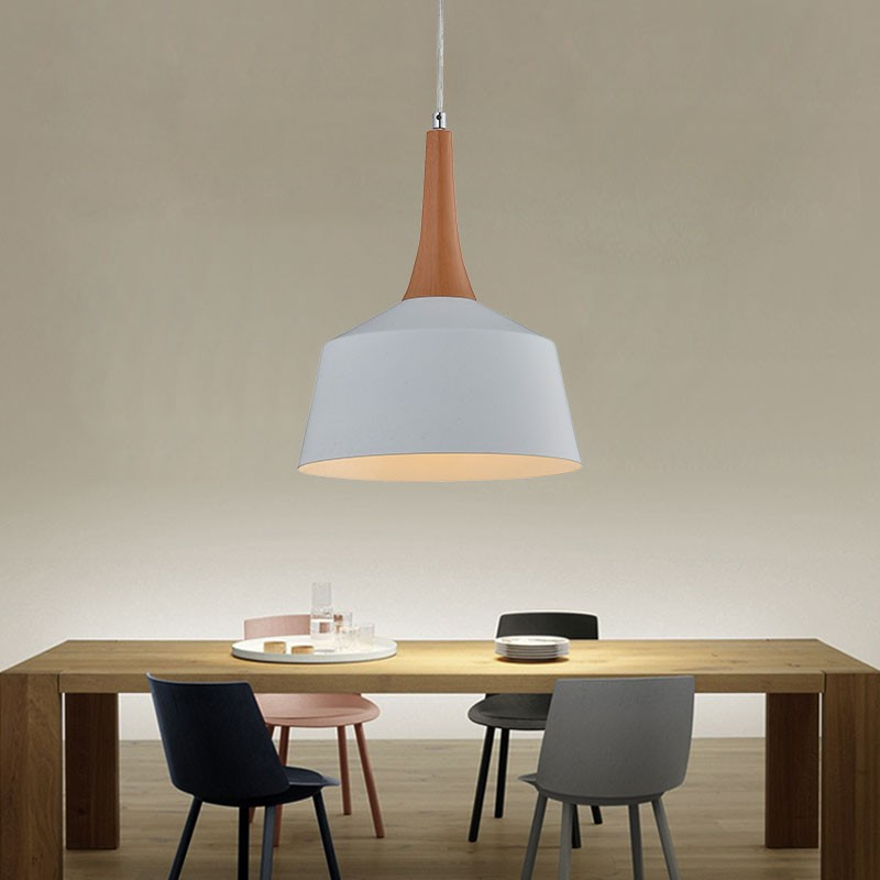 1-Light White Iron/Aluminum Modern Pendant Light (HKP31441-1)