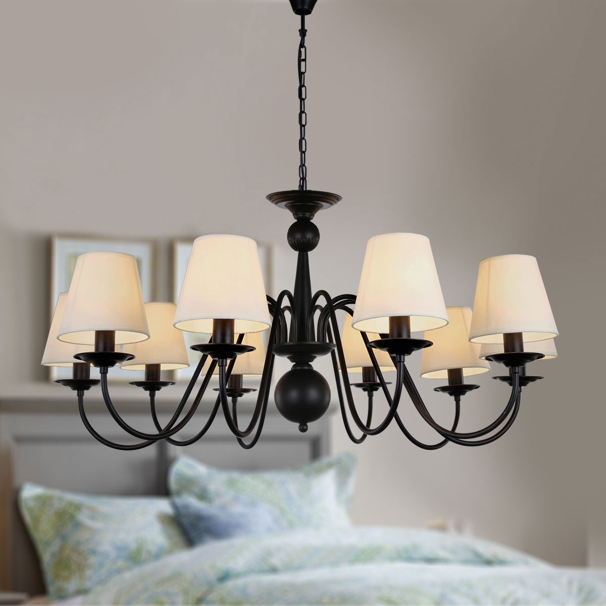 10-Light Black Wrought Iron Chandelier with Cloth Shades (DK-2016-10)