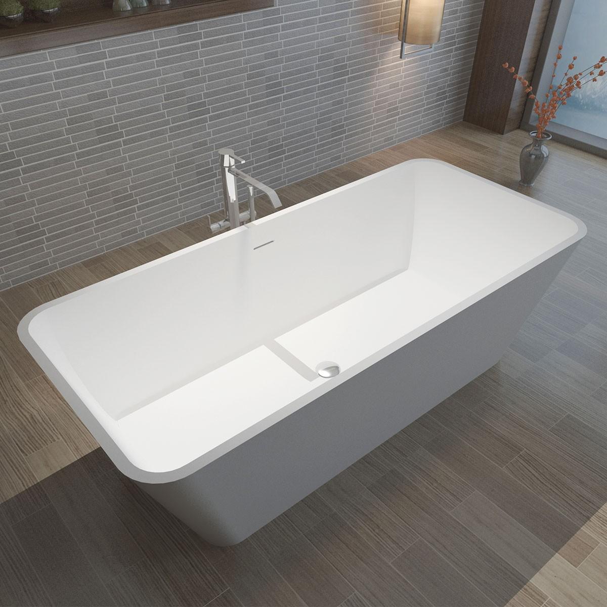 59 In Rectangular Synthetic Stone Freestanding Bathtub - Matte White (DK-HA8603)