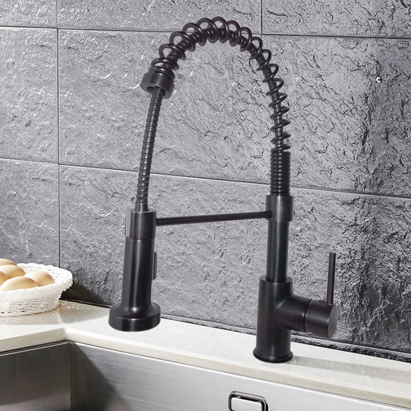 Black Bronze Finished Brass Kitchen Faucet - Pull Out Spray Head (82H07-ORB-S)