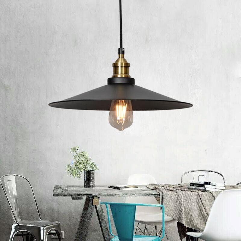 1-Light Iron/Glass Industrial Pendant Light (HKP31250-1L)