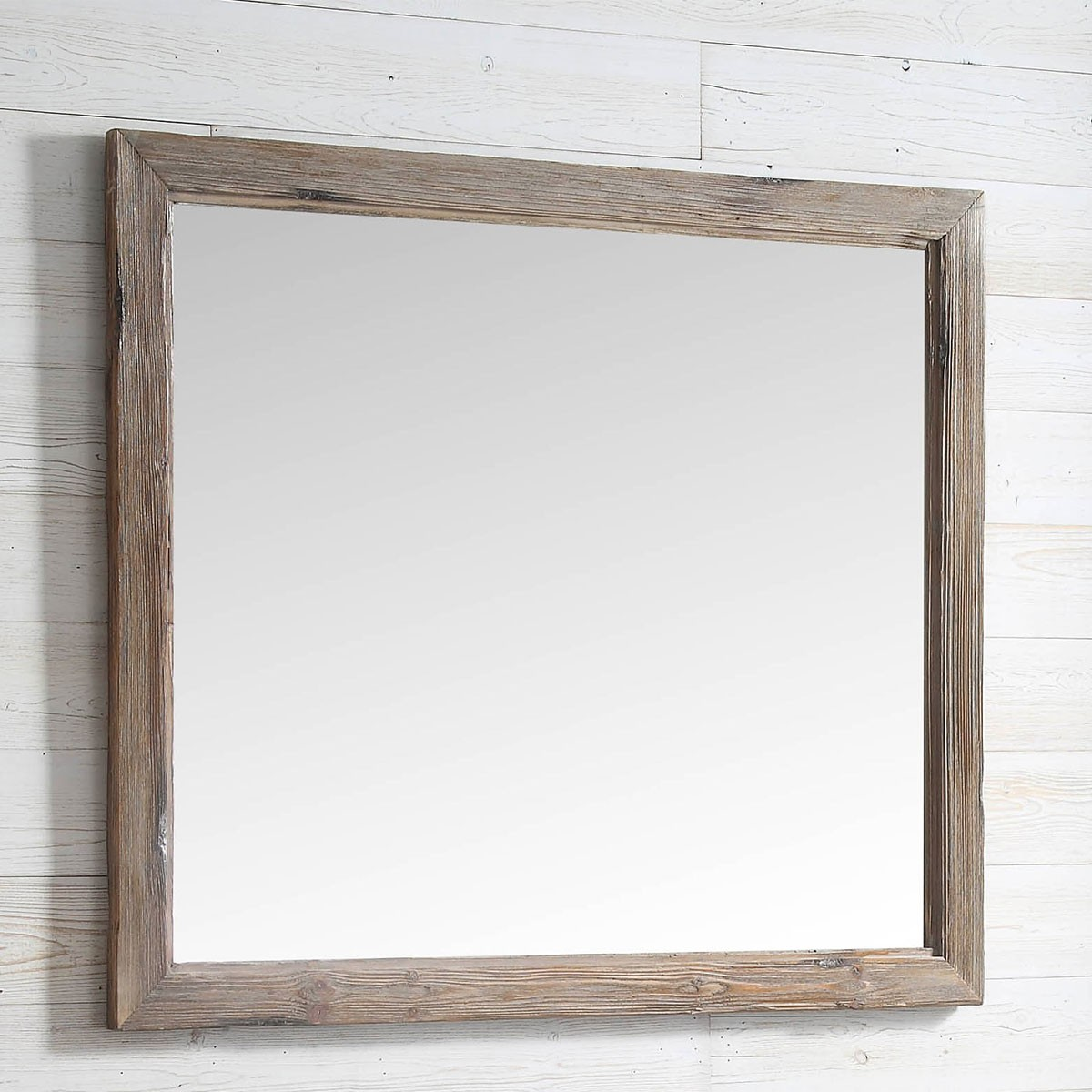 42 x 36 In Bath Vanity Décor Mirror with Fir Wood Frame (DK-WH9342-SW)