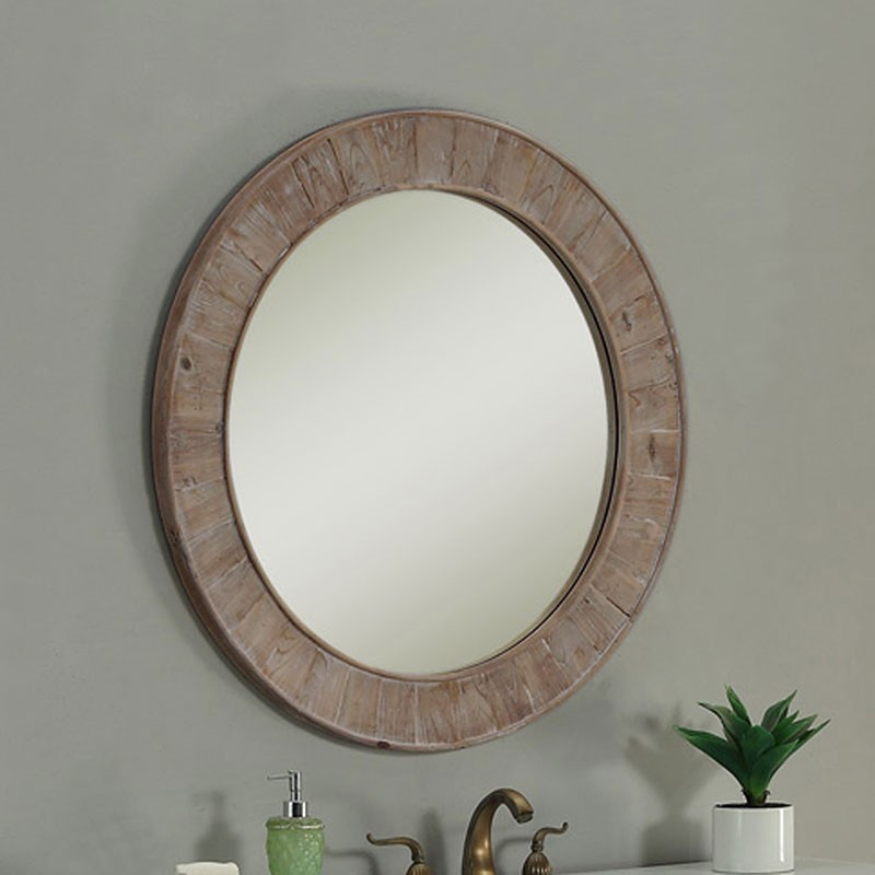 28 x 28 In Round Bath Vanity Décor Mirror with Fir Wood Frame (DK-WK2911-SW)