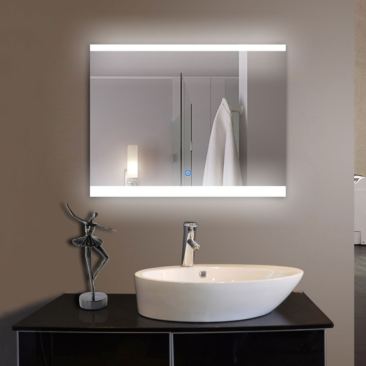 36 x 28 In Horizontal LED Bathroom Mirror with Touch Button (DK-OD-CL056)
