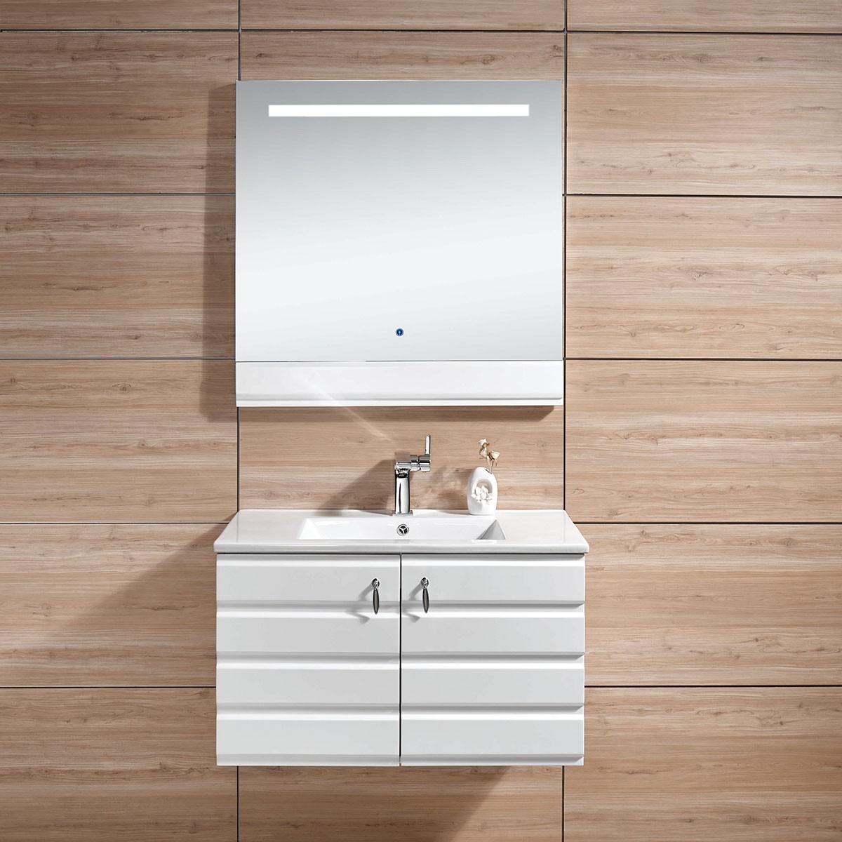31 In. Wall Mount Bathroom Vanity Set with LED Mirror (DK-613800-SET)