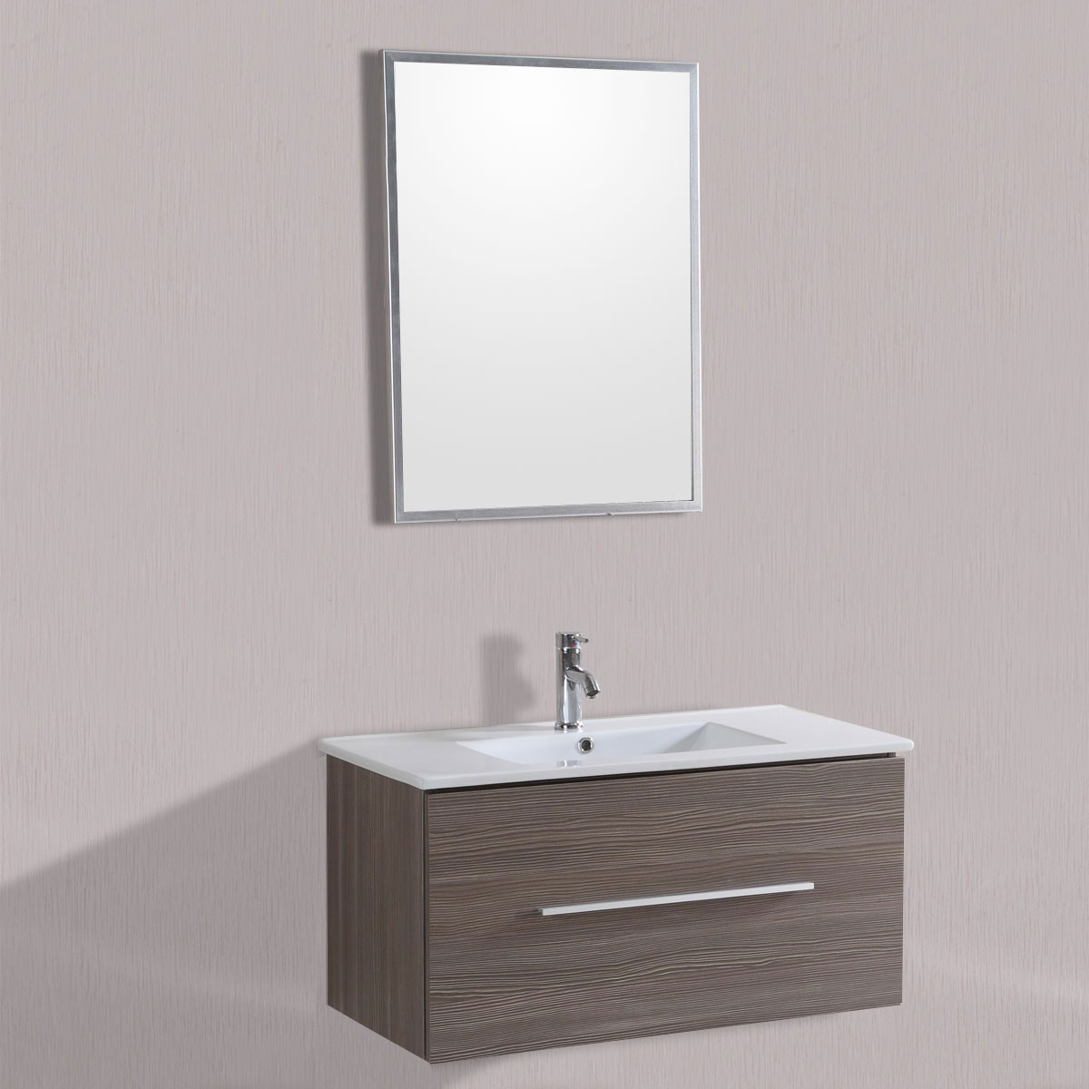 40 In. Wall Mount Bathroom Vanity Set with Single Sink and Mirror (DK-T5010C-SET)