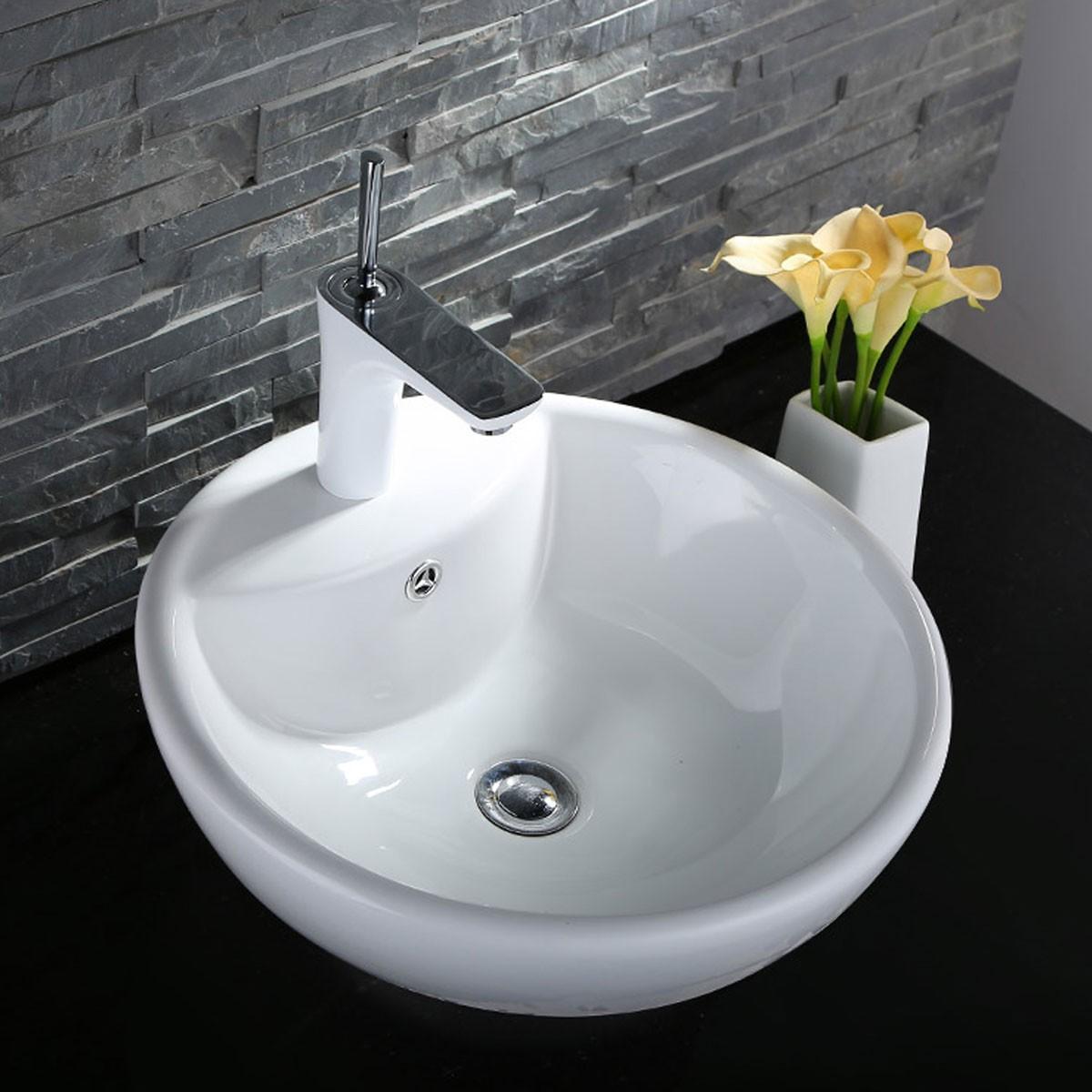 Decoraport White Round Ceramic Above Counter Vessel Sink (CL-1042)