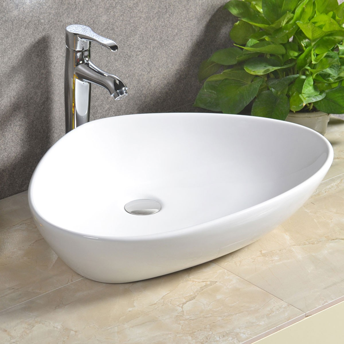 Decoraport White Triangular Ceramic Above Counter Basin (CL-1068)