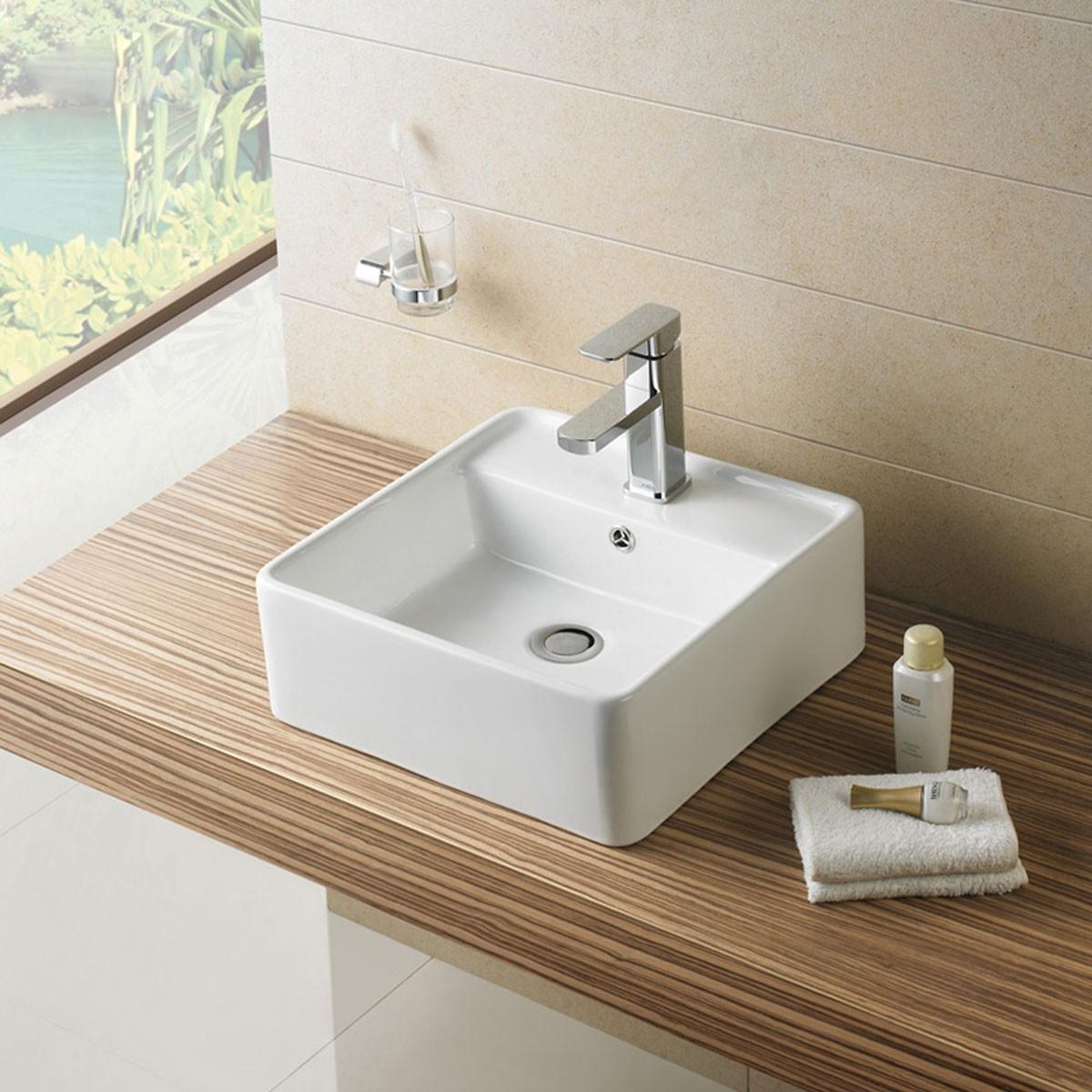 White Square Ceramic Above Counter Basin (CL-1098)