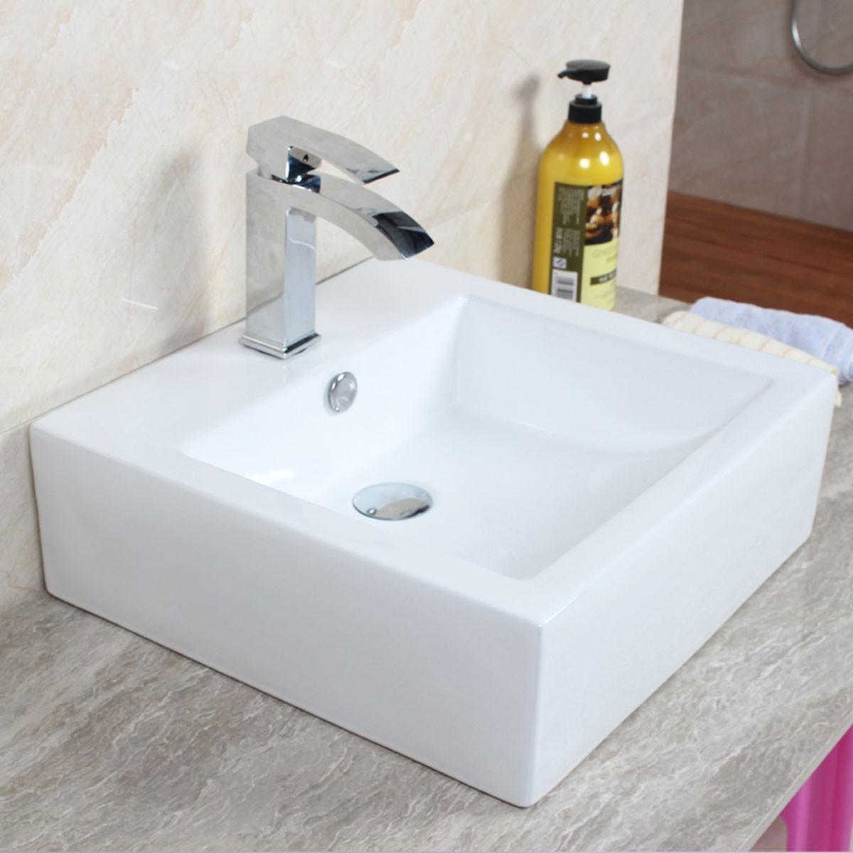 Decoraport White Square Ceramic Above Counter Basin (CL-1176)