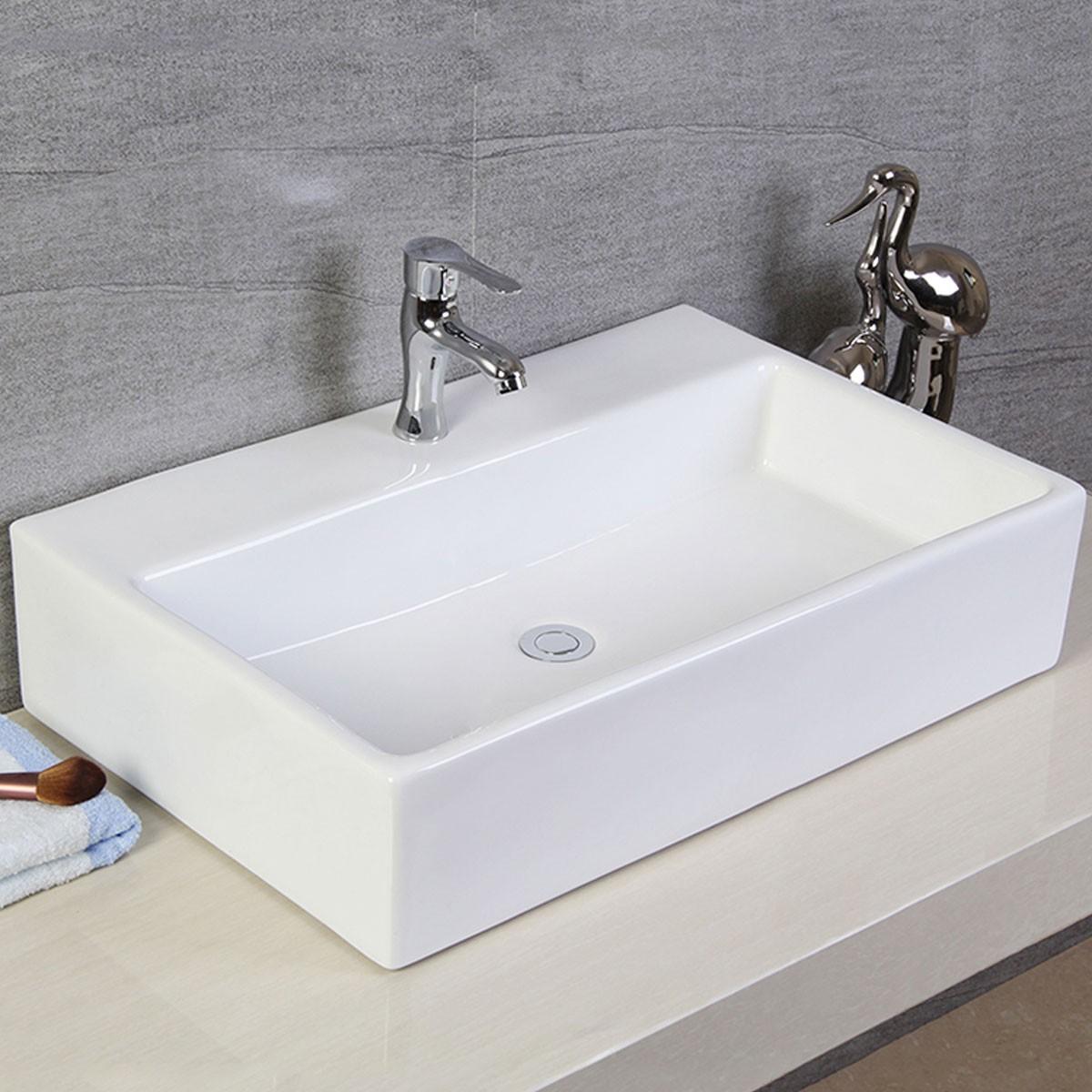Decoraport White Rectangle Ceramic Above Counter Vessel Sink (CL-1099)