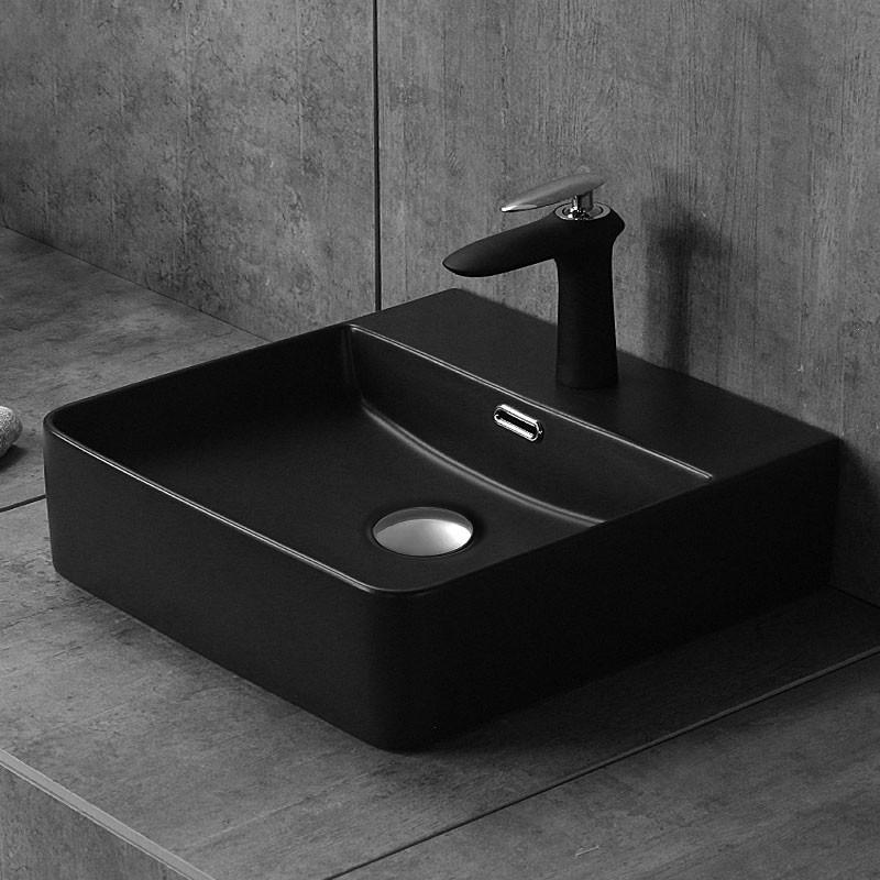 Matte Black Rectangle Ceramic Above Counter Basin (CL-1275YA)