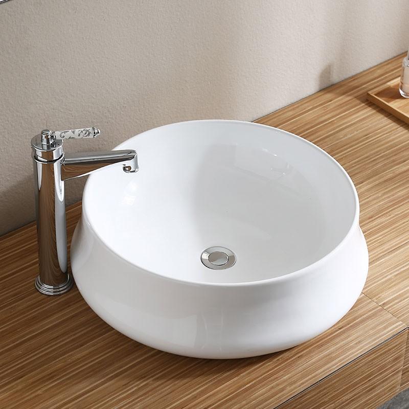 White Round Ceramic Above Counter Basin (CL-1335-1)