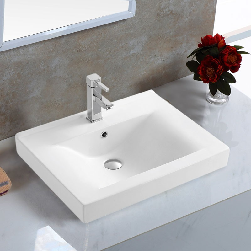 White Rectangle Ceramic Bathroom Vanity Basin (CL-4038-60)