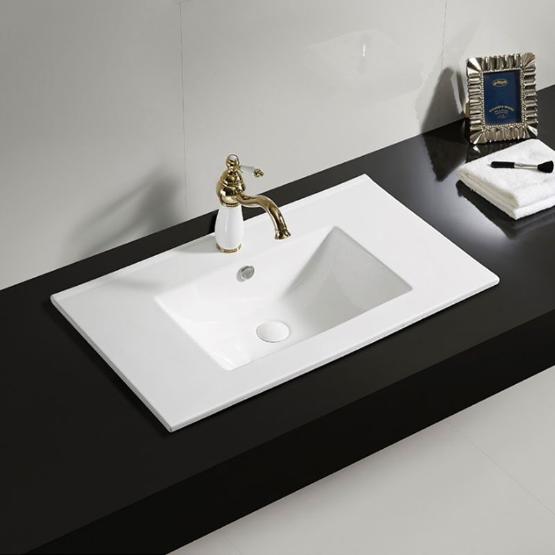 White Rectangle Ceramic Bathroom Vanity Basin (CL-4001-80)