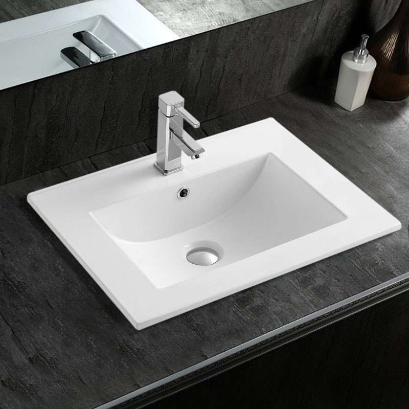 White Rectangle Ceramic Bathroom Vanity Basin (CL-4001-60)