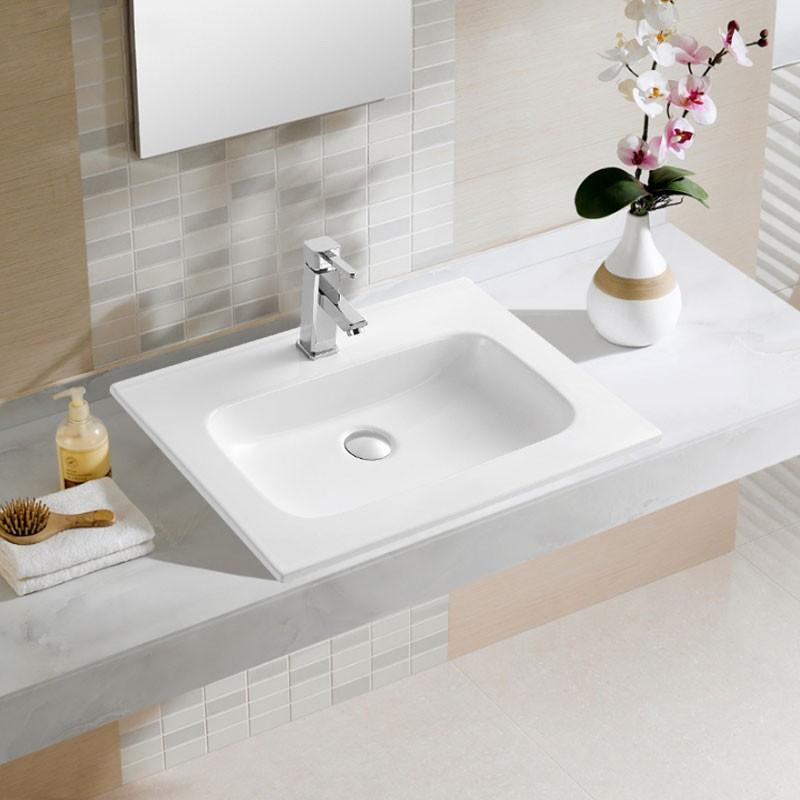 White Rectangle Ceramic Bathroom Vanity Basin (CL-4108-60)