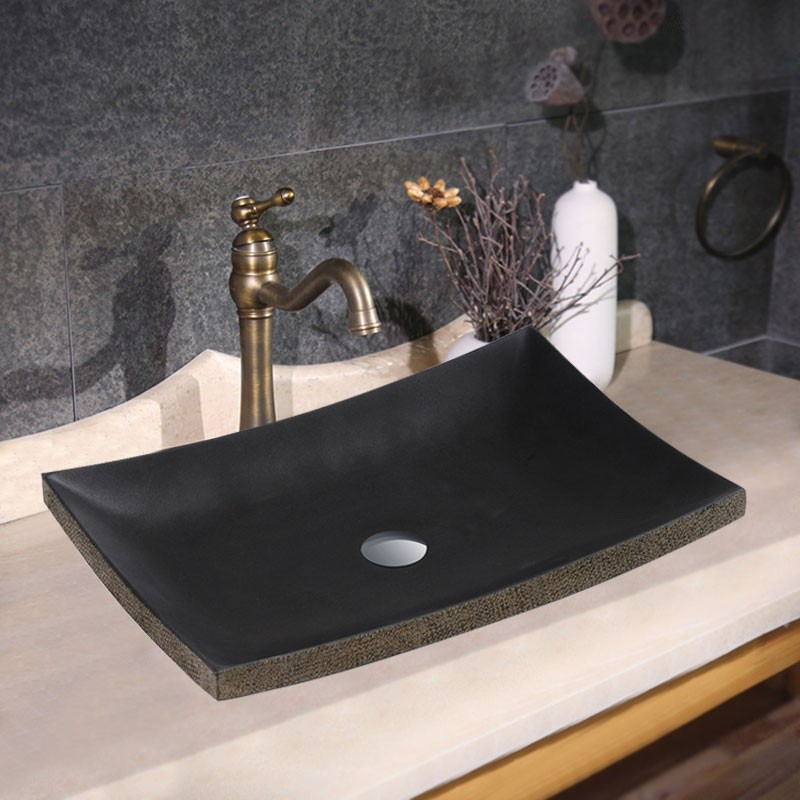 Black Rectangle Marble Above Counter Basin (CL-S011)