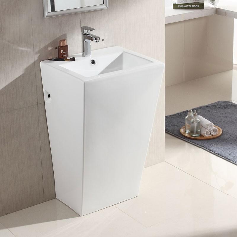 White Square Ceramic Pedestal Sink (CL-6012)