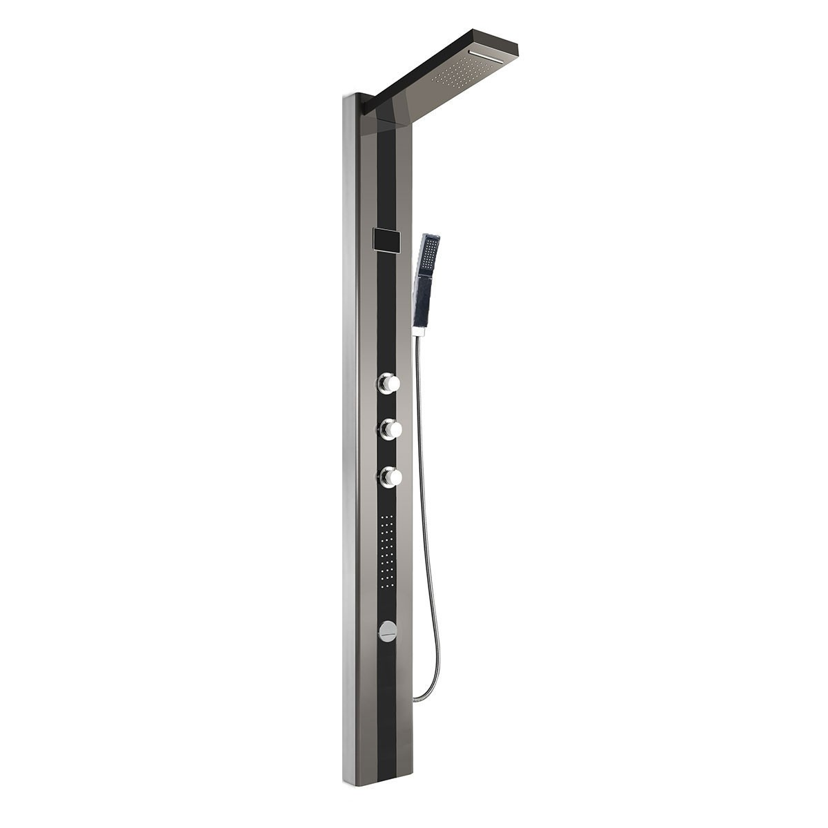 Black and Brushed Stainless Steel Thermostatic LED Shower Panel System (LYB-5530-SH)