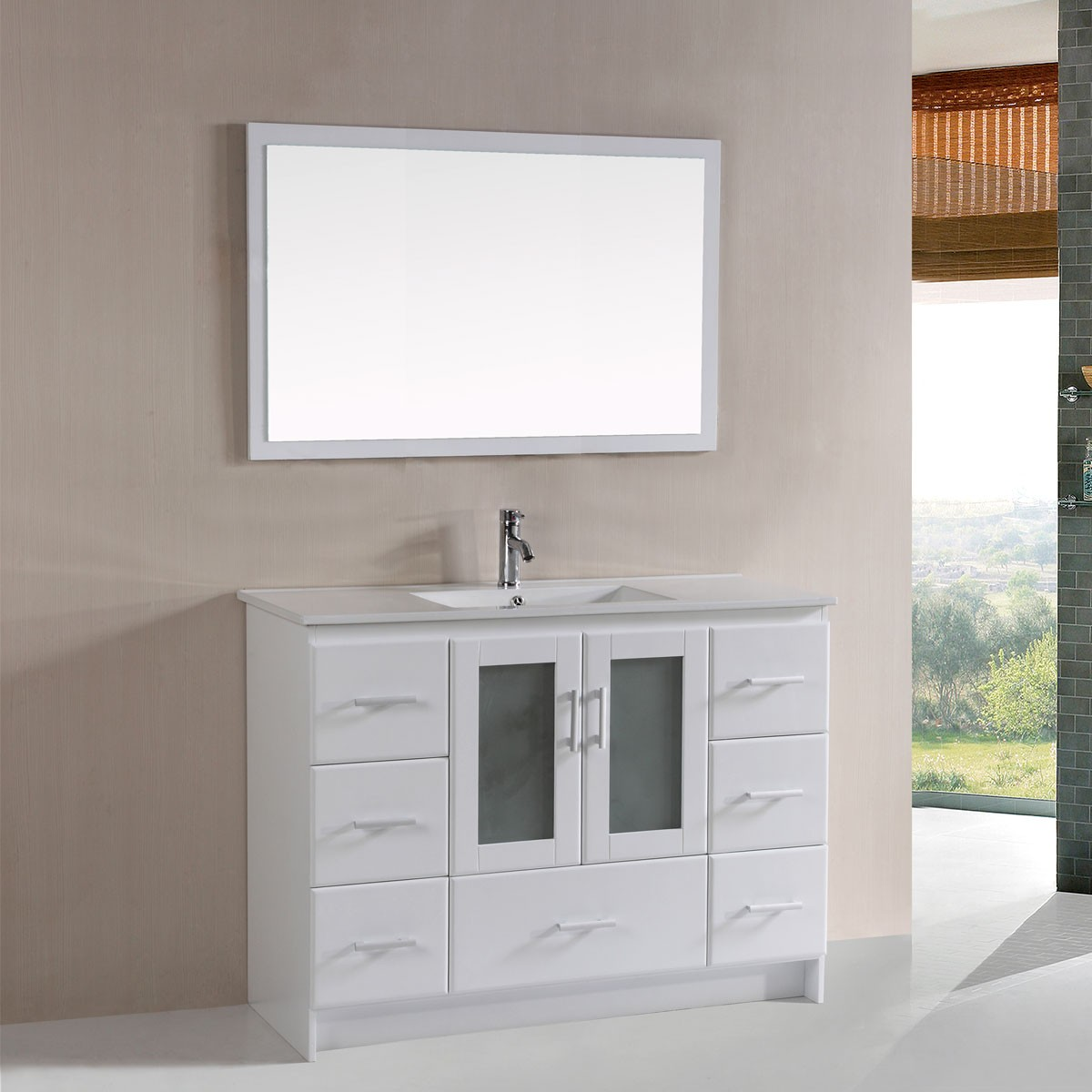 48 In. Plywood Vanity with Basin and Matching Mirror (DK-T9312-48W-SET)