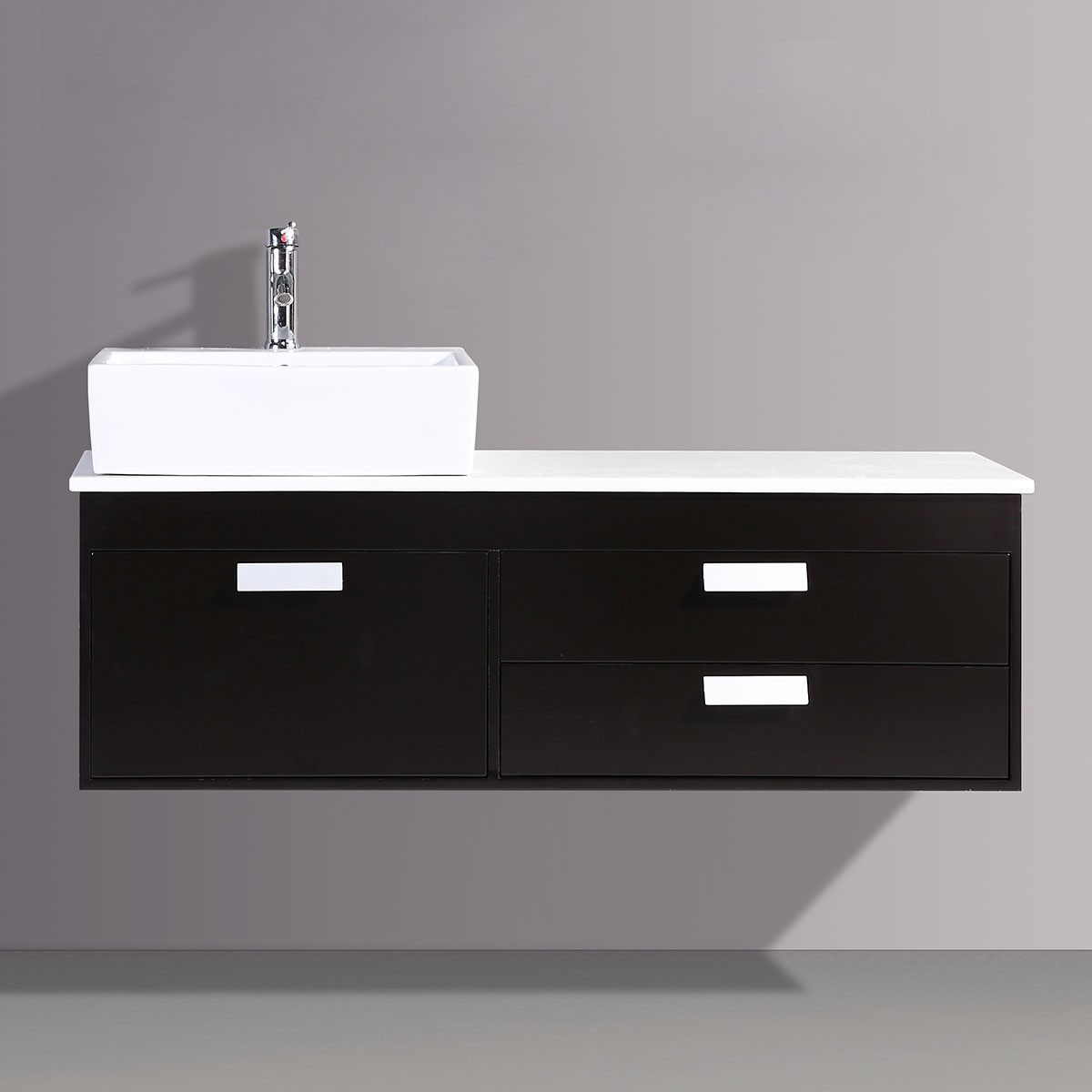 51 In. Espresso Wall-Mount Vanity with Polymarble Top and Ceramic Basin (DK-T9099B-V)