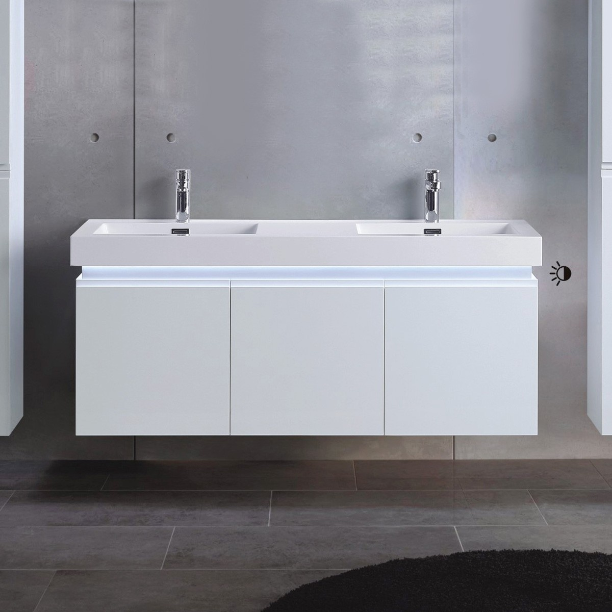 54 In. Wall Mount Vanity with Double Basin (ML1380-V)
