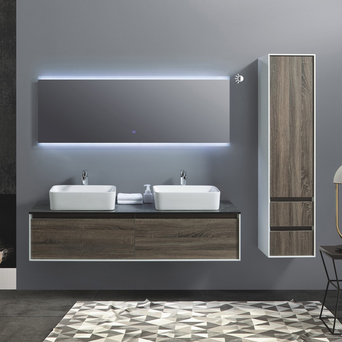 60 In. Wall Mount Vanity Set with Linen Cabinet and LED Mirror (AG1500D-SET)