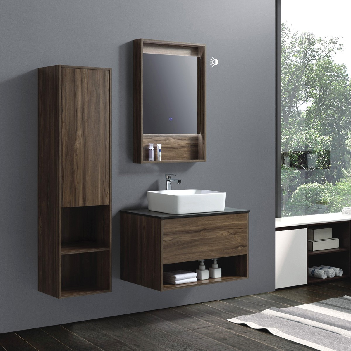 32 In Wall Mount Vanity Set With Linen Cabinet And Mirror