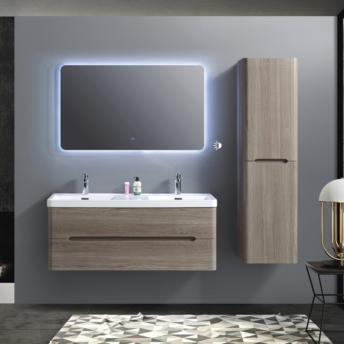 48 In Wall Mount Vanity Set With Linen Cabinet And Led