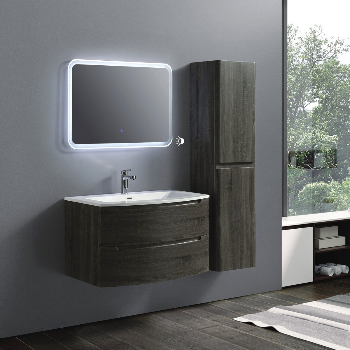 36 In Wall Mount Vanity Set With Linen Cabinet And Led