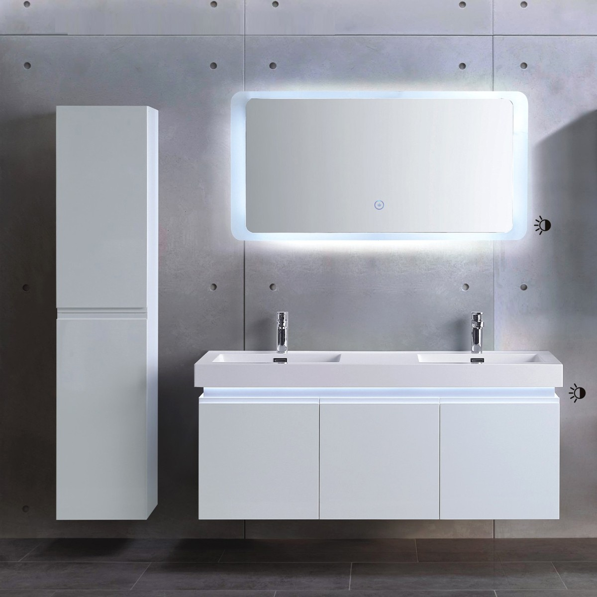 54 In. Wall Mount Vanity Set with Linen Cabinet and  LED Mirror (ML1380-SET)