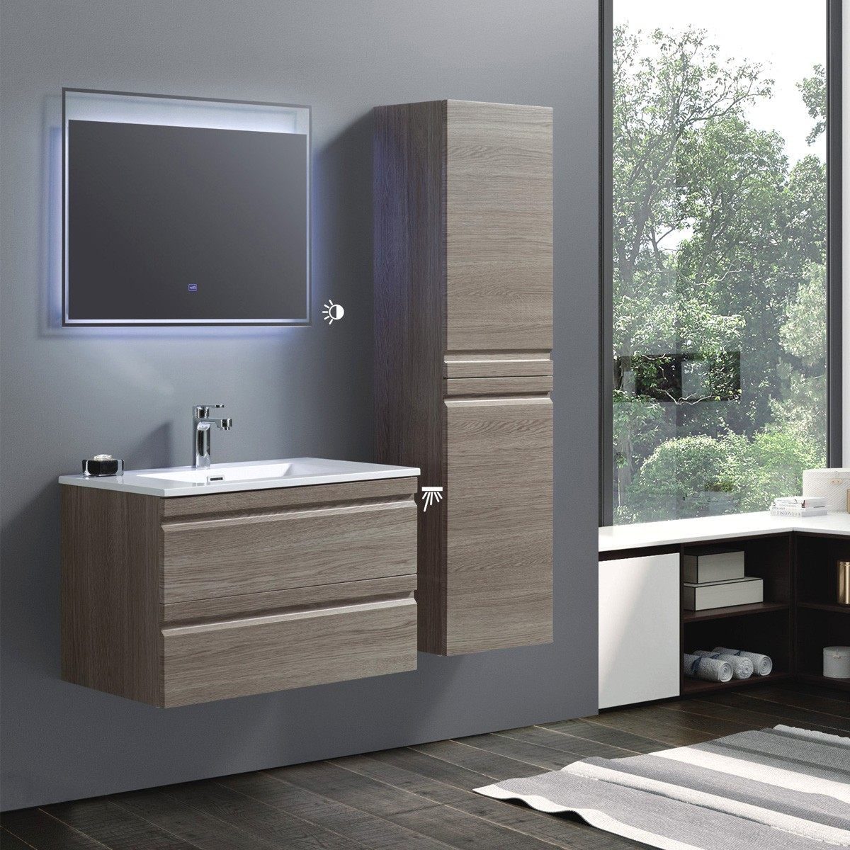 32 In Wall Mount Vanity Set With Linen Cabinet And Led