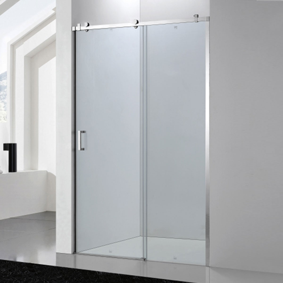 60 In. Sliding Shower Door with Wheels for Alcove Installation (DK-SC028)