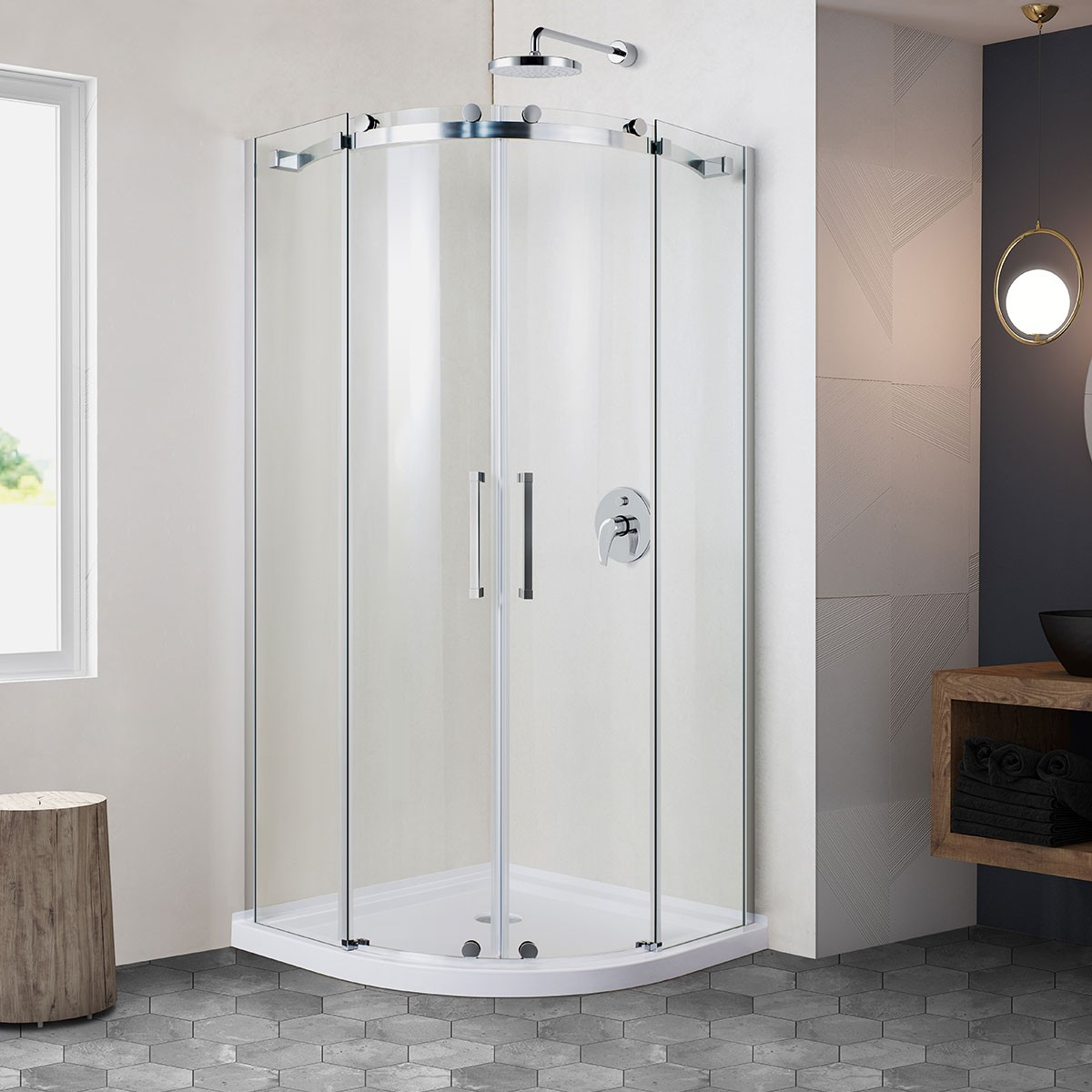 36 x 36 In. Round Sliding Shower Door (DK-AM6002-6)