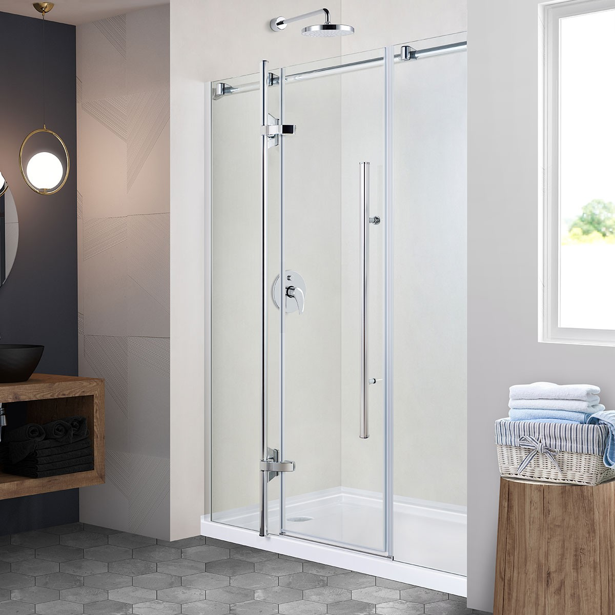 60 In. Pivot Shower Door (DK-CV3003-8)