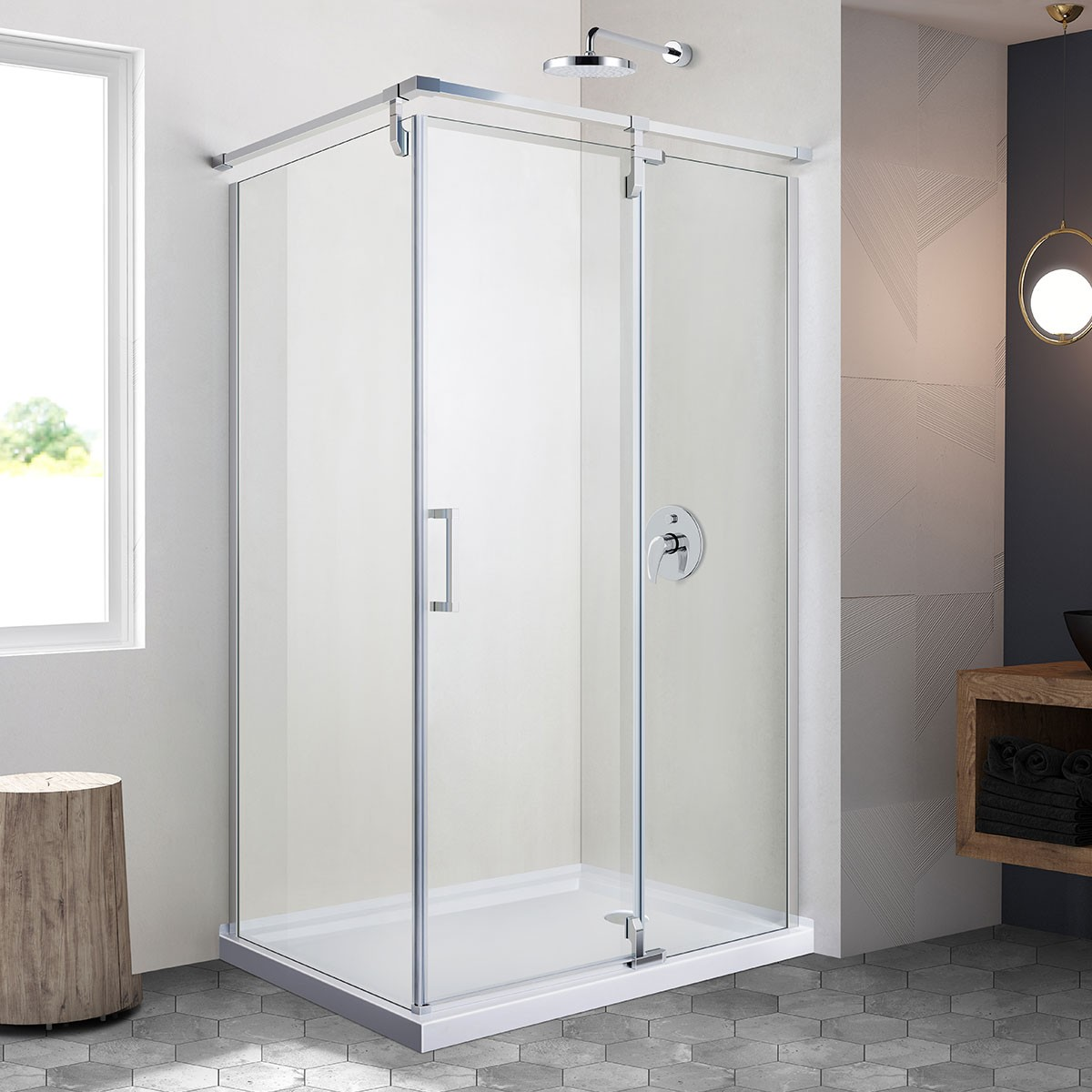 48 In. Pivot Shower Door with 36 In. Side Panel (DK-ZD1002-8R)