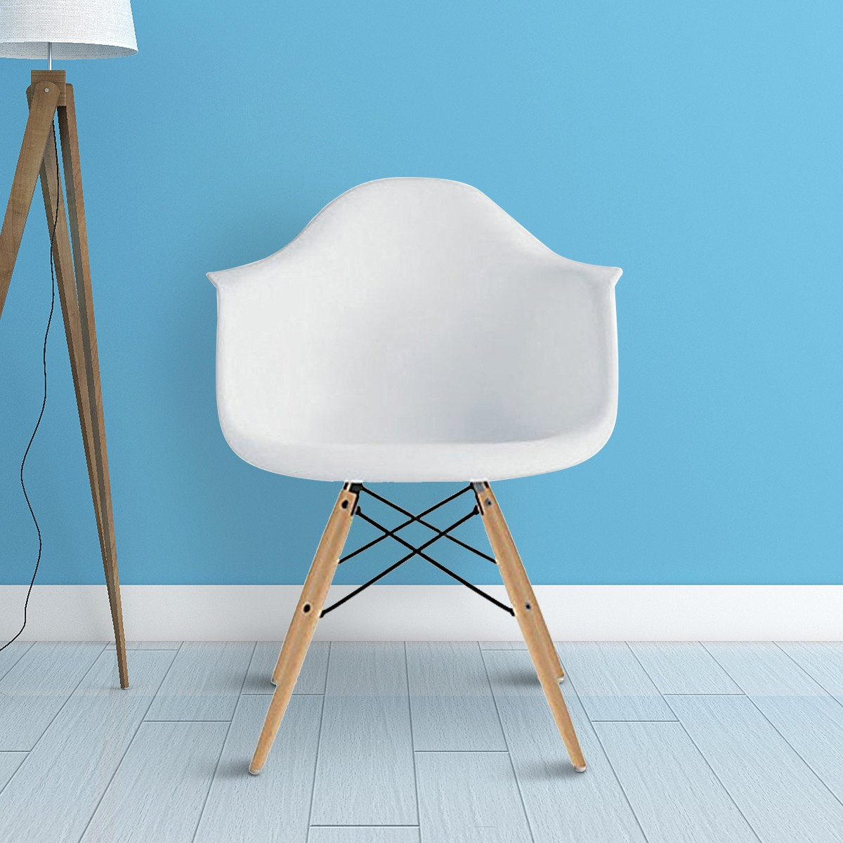 Molded Plastic Arm Chair in White (T813E008-WT)