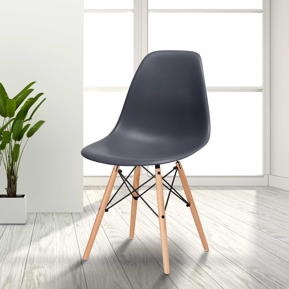 Molded Plastic Chair in Gray with Wood Legs (T811E006-GY)