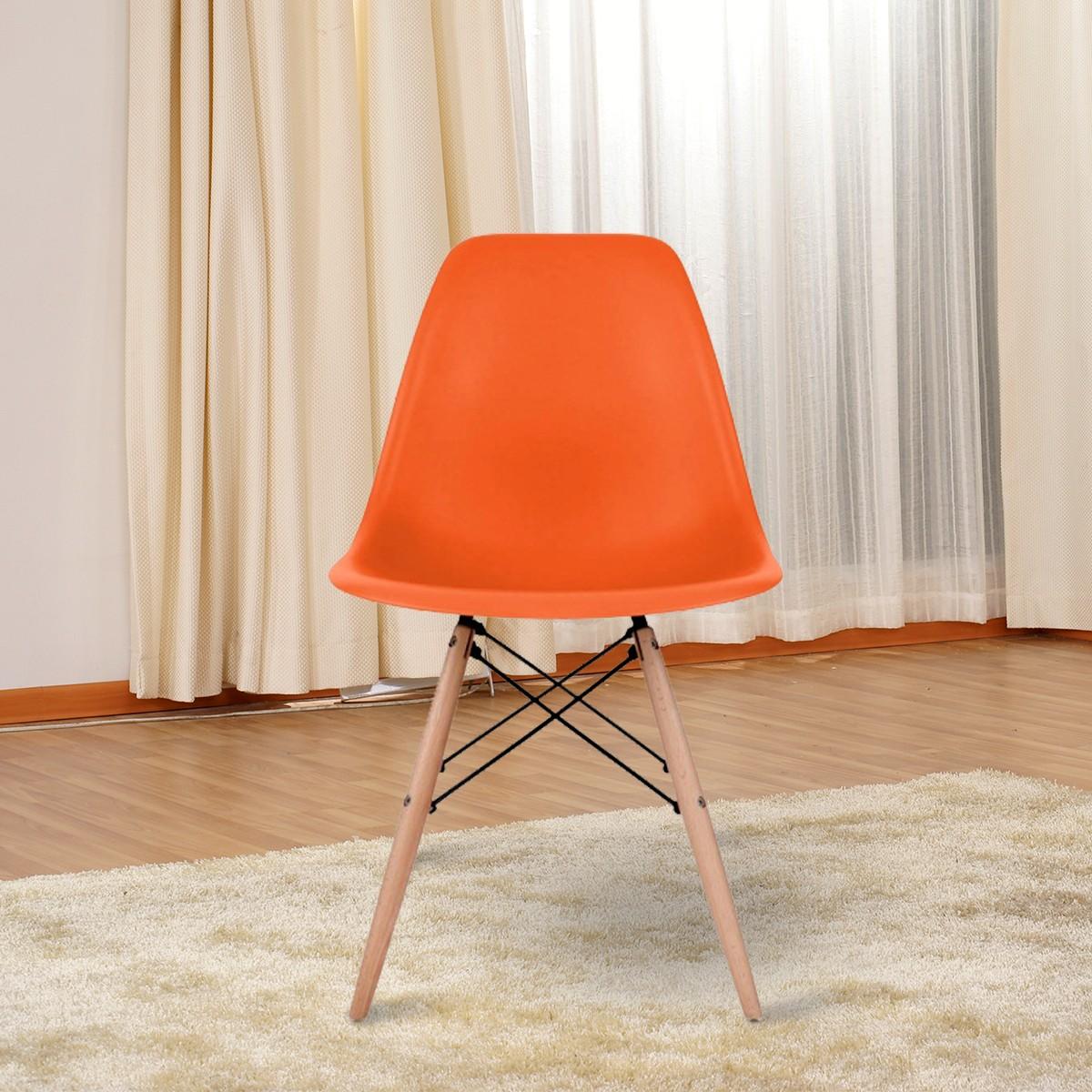 Molded Plastic Chair in Orange with Wood Legs (T811E006-OG)