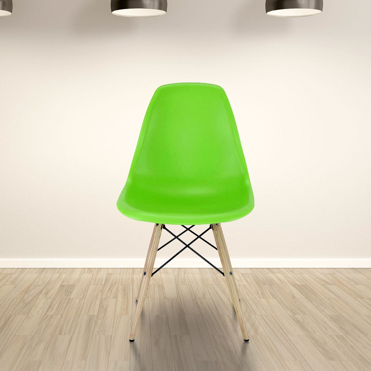 Molded Plastic Chair in Green with Wood Legs (T811E006-GN)