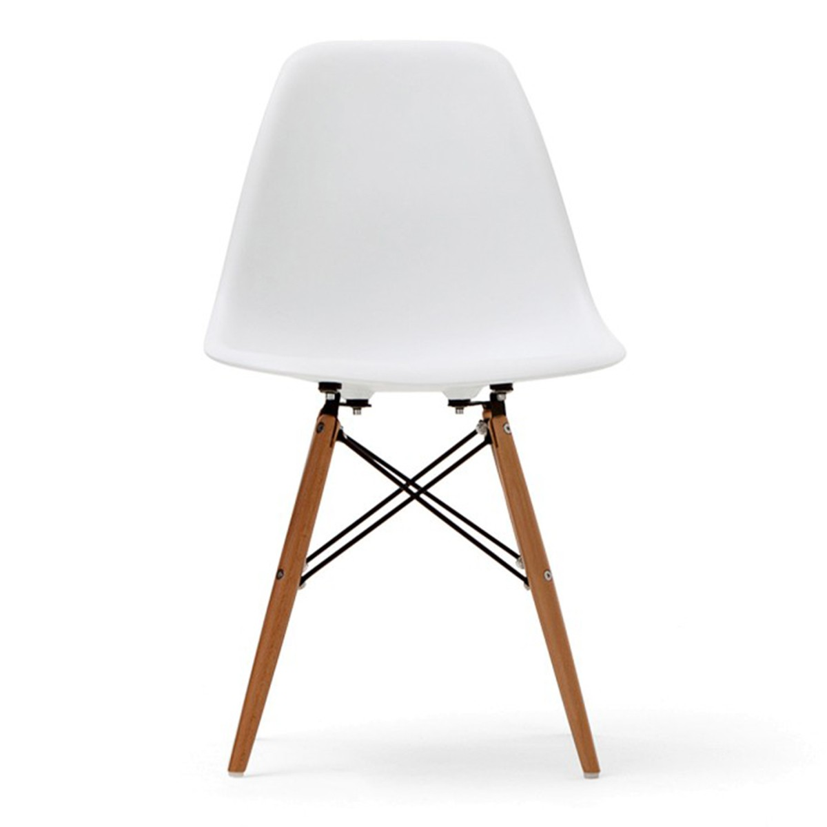 Molded Plastic Chair in White with Wood Legs (T811E006-WT)