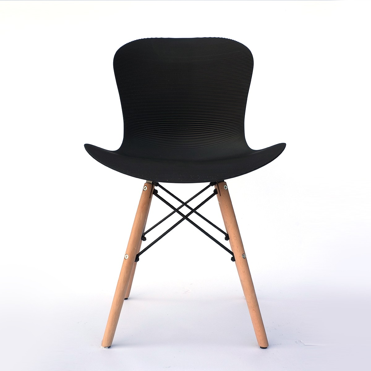 Corrugated Plastic Dining Chair in Black (T806E001-BK)